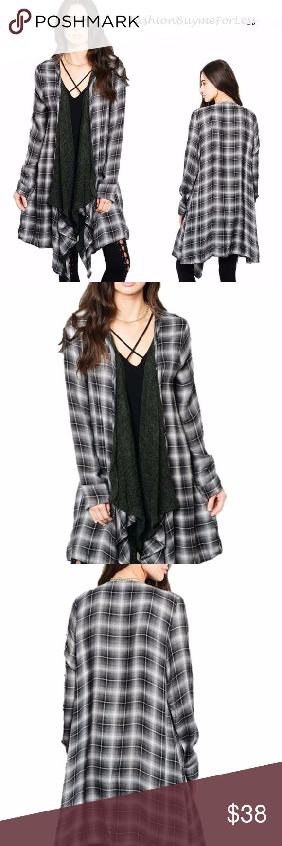 Drape Open Front Plaid Sweater Duster Cardigan Top We love the traditional Check & Plaid Duster Cardigan Jacket, Draped-open front, Beautiful cascade Collar, Long Sleeve, Full Length, Relaxed Fit, Wide Flared hem, Comfortable, quality made. SO COOL... So Contemporary and Stylish for everyday modern... Product ID: 1351 Buyme4Less Sweaters Cardigans