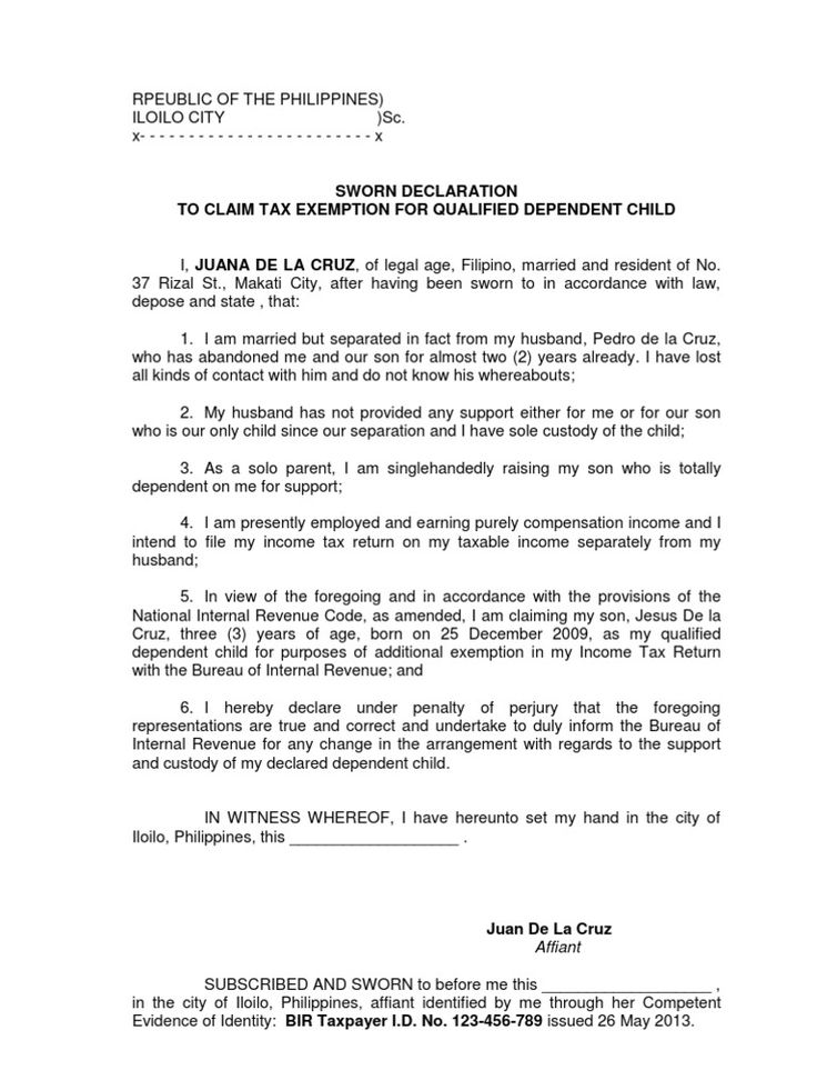 affidavit claim tax exemption for dependent child bir Home - affidavit of sworn statement