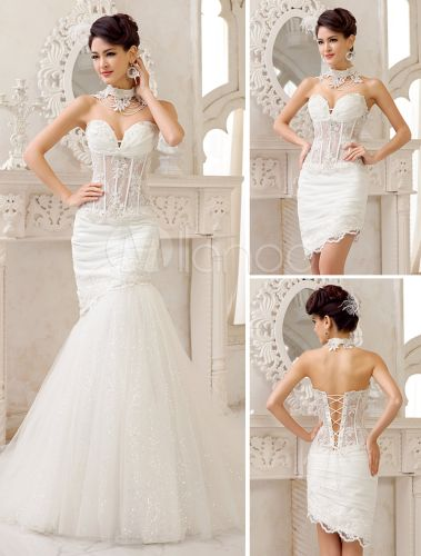 Sexy Ivory Lace Sweet Heart Detachable Train Wedding Gown - Milanoo.com
