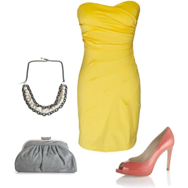 How to wear the Aveline Necklace - Look One with Yellow Dress, created by shandynicole1 on Polyvore. {note- the necklace is my design, the dress, shoes and handbag are not.}
