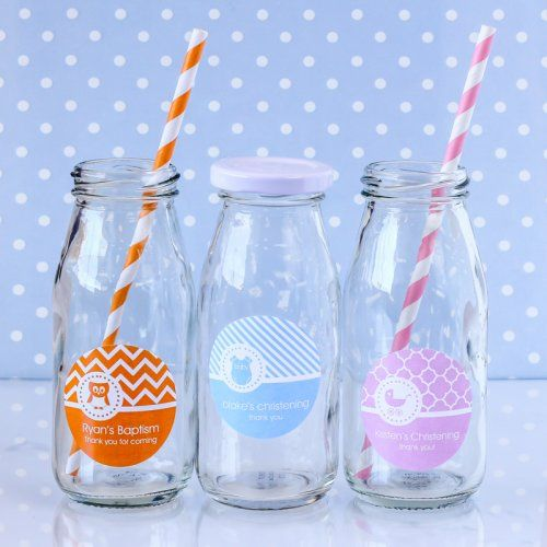 Personalized Baptism Milk Jars and Straws by Beau-coup