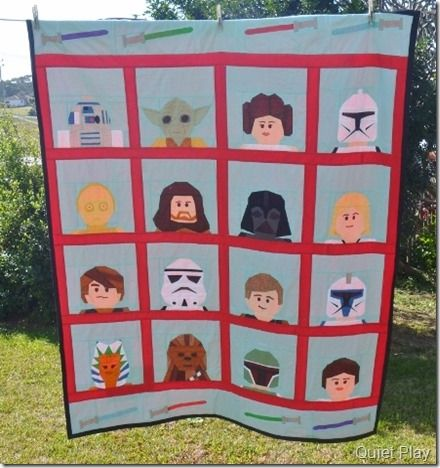LEGO Paper Pieced Star Wars quilt free pattern on craftsy
