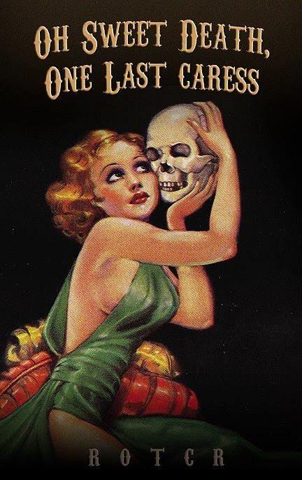 By Margaret Brundage (detail). Death grim reaper Father Time scythe maiden girl woman dance danse macabre skull skeleton
