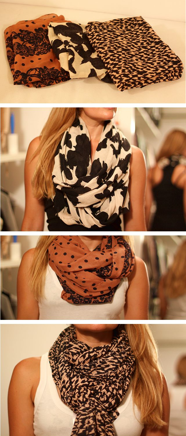 scarves done right ....I LOVE THE MIDDLE ONE!!!!!!!!