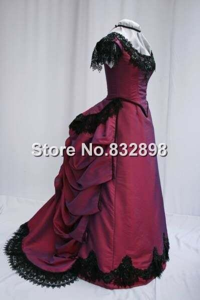 221.4$  Watch here - Top Sale New Deep Red Taffeta Short Sleeves Victorian Bustle Ball Gown Dress Party Dress with Lace   #buyonlinewebsite