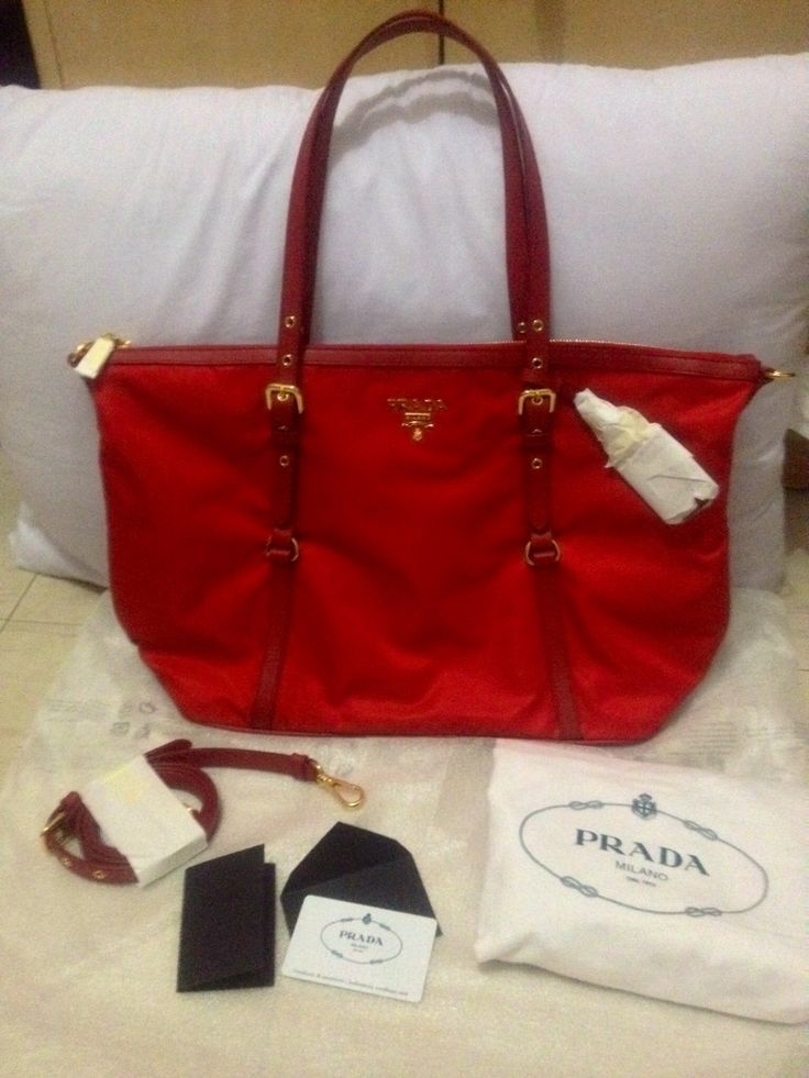 My very 1st Red Bag Authentic Prada Tessuto Nylon Tote BR4253