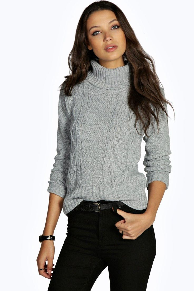 Tall Cosette Cable High Neck Knitted Jumper 195kr Boohoo