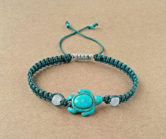 Turtle Bracelet Turquoise Howlite Turtle Macrame Bracelet