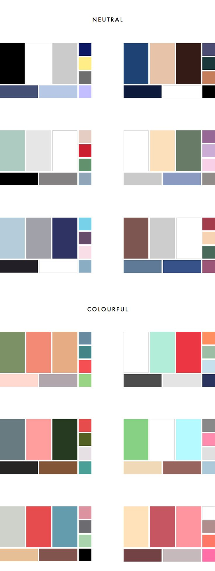 36 Colour Palettes for your Wardrobe Part II: Colourful vs Neutral