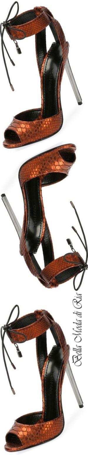 Tom Ford Metallic Python Padlock Sandal in Rust