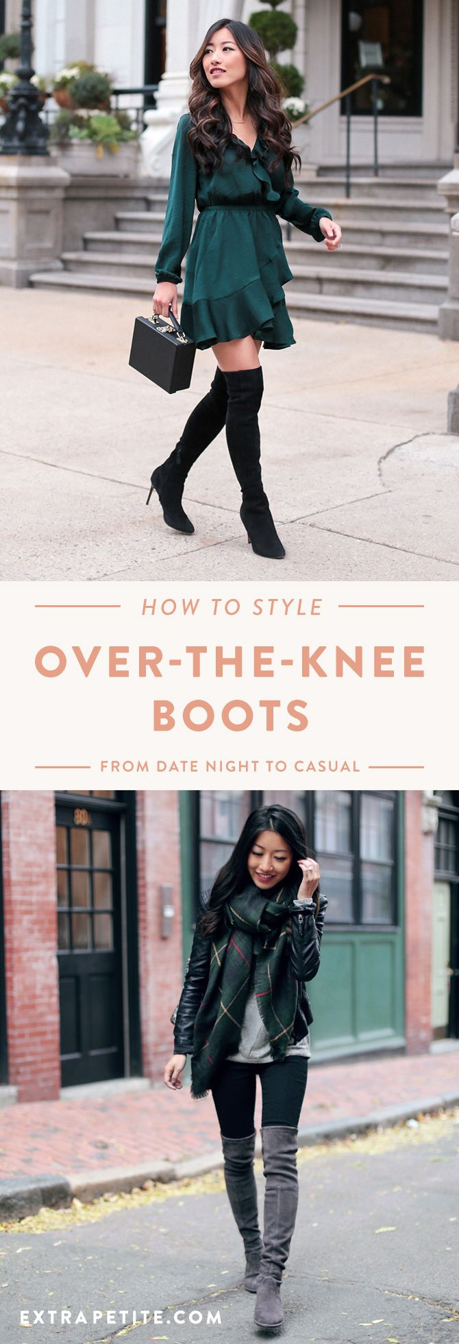 over the knee boots outfit ideas by extra petite fashion blog