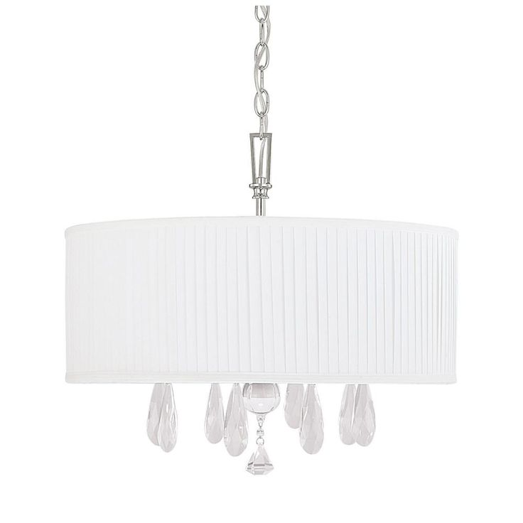 Kerigan Bedroom Capital Lighting Alisa Chandelier, Polished Nickel Finish  With Fabric Shade And Clear Crystal Accents X X 16 Inches