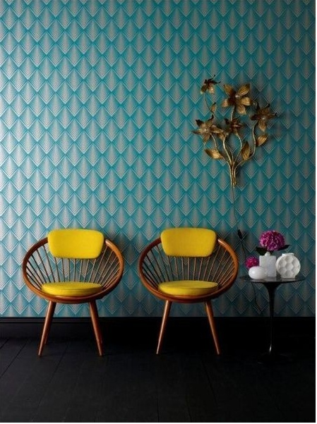 Yellow mid-century chair with teal blue / gold wallpaper