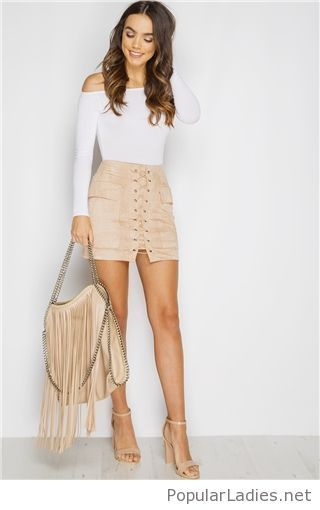 white-blouse-and-nude-skirt