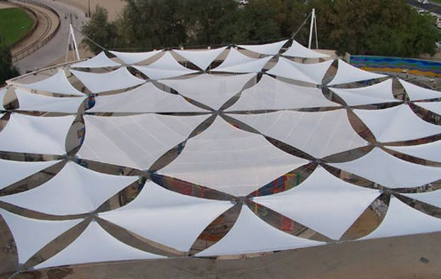 Fabric Shade Structures : Membrane cable tensile structure for roofing flat shade