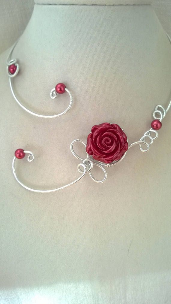 Open collar necklace Wire jewelry wire necklace Burgundy