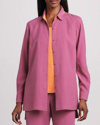 Go Silk Easy-Fit Colorblock Silk Shirt, Petite - Shop for women's Shirt - WATERMELON Shirt