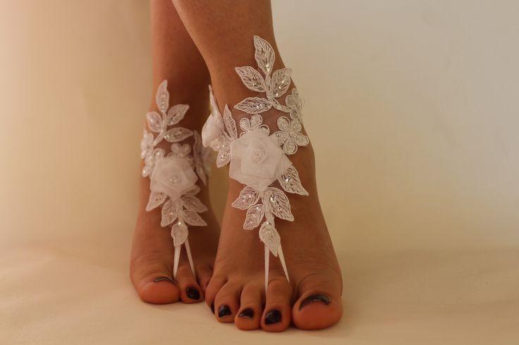 beyaz dantel Barefoot Sandalet, nudeshoes, plaj düğün ayak takı, De Maria, sandalet yalınayak