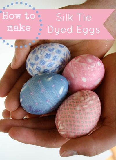 How to dye Easter eggs with silk ties. These eggs have such beautiful patterns when finished. #easter #dye #idea skiptomylou.org