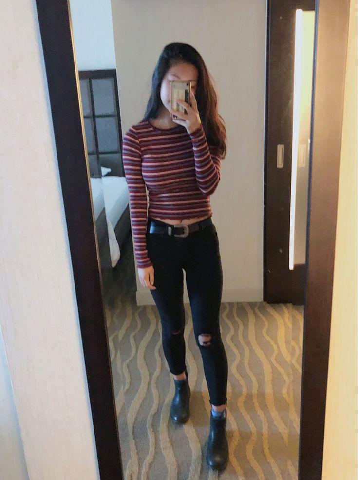 Striped long sleeve, ripped black jeans, western belt