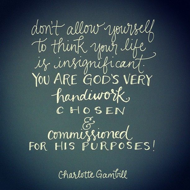 Your life is not insignificant! You have been chosen and commissioned by God for His purposes!  quote by @Charlotte Gambill: