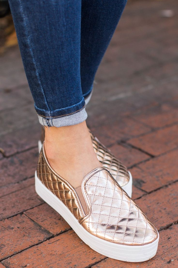 My Way Or The Highway Metallic Rose Gold Slip On Sneakers at reddressboutique.com