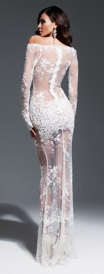 A stunning sheer bridal lace gown, the ultimate in #boudoir bridal #couture.  Olesya Malinskaya S/S 2013