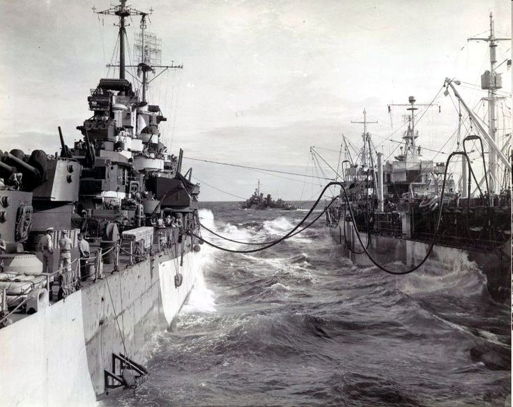 USS Denver (CL 58) 12 Jan 1945 in the South China Sea operating with TG77.3.