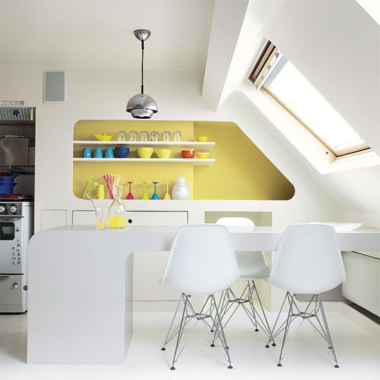Kitchen with bold yellow feature wall | Colourful kitchen ideas | Kitchen | PHOTO GALLERY | Beautiful Kitchens | Housetohome.co.uk