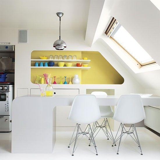 Kitchen with bold yellow feature wall   Colourful kitchen ideas   Kitchen   PHOTO GALLERY   Beautiful Kitchens   Housetohome.co.uk