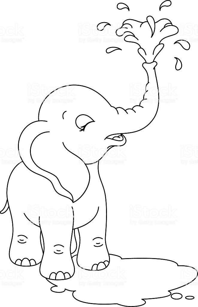 Cute Little Elephant Bathing Elephant Coloring Page Elephant Quilts Pattern Animal Coloring Pages
