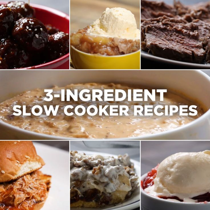 3-Ingredient Slow Cooker Recipes // #dessert #pulledpork #applecobbler #dinner #dessert