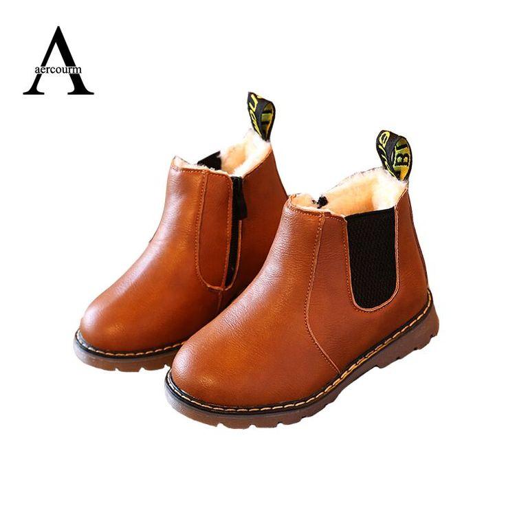 Aercourm A 2017 New Autumn Children PU Shoes Boys Girls Children Boots Winter England Retro Martin Boots Kids Solid Boots 26-36