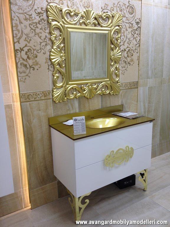 Banyolar için Avangard Beyaz Lake Dolap ve Altın Varaklı Ayna | Avangarde Bath Mirror