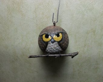 Hand Painted Upcycled Golf Ball Owl Ornament