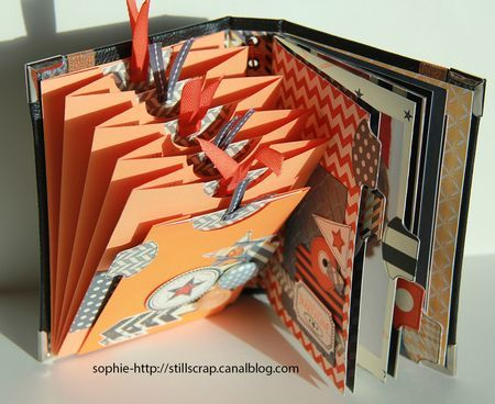 interesting idea - pockets glued together on the left & bound tabbed pages on the right Used here for a scrapbook.  May make a great stack of folders in a binder for school work!