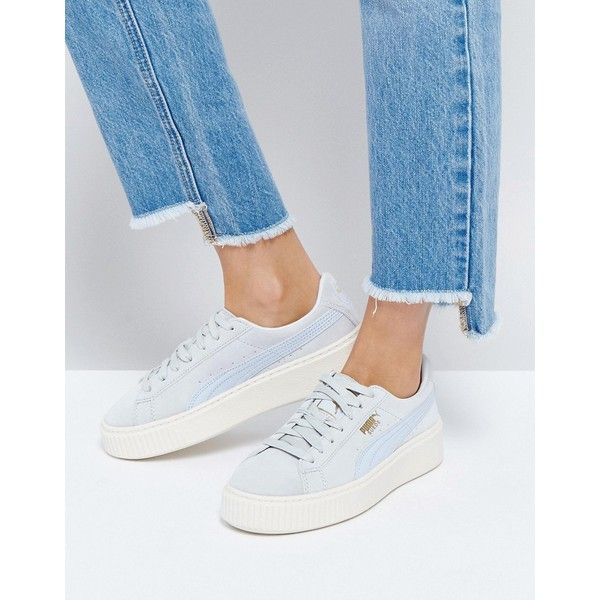 Puma Suede Platform Trainer In Blue (150 AUD) ❤ liked on Polyvore featuring shoes, sneakers, blue, suede shoes, blue suede sneakers, cushioned shoes, lacing sneakers and platform lace up shoes
