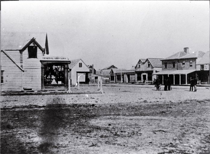 General grocers on the corner of Colombo and High Streets, Christchurch 1861