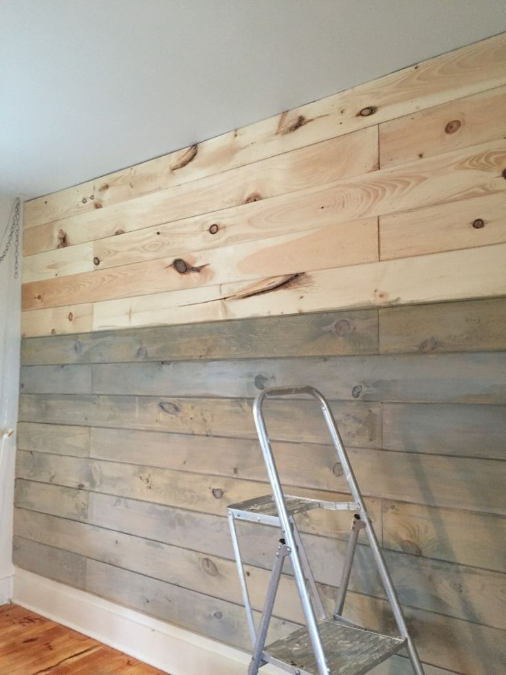 Wooden Plank Wall ~ Staining a plank wall with milk paint shiplap