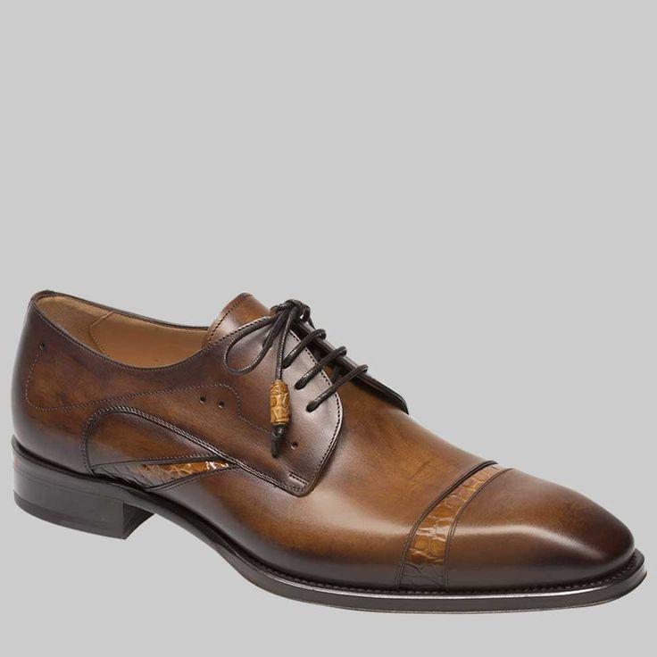 Mezlan Nemesis Mens Shoes Cognac & Camel European Calfskin & Alligator  Oxfords 4319-J (