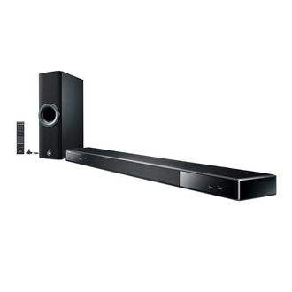 Yamaha YSP-2500, 7.1-channel surround sound from an ultra-slim sound bar. With 16 speakers powered by 16 amplifiers.