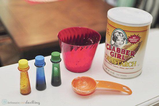 PINTURA DE TIZA HECHO EN CASA  Ingredientes para tiza hecha en casa de la pintura : . Dos cucharadas de maicena .  Dos cucharadas de agua .  4-5 gotas de colorante