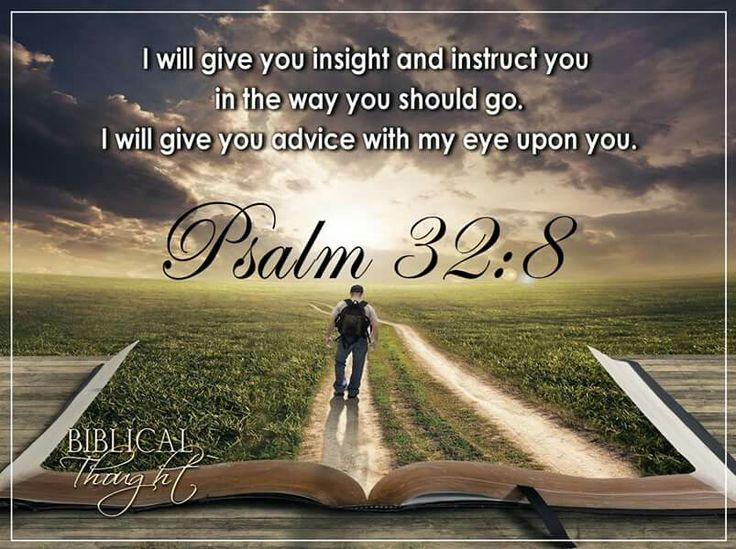 I will give you insight and instruct you in the way you should go. I will give you advice with my eye upon you. - Psalm 32:8.