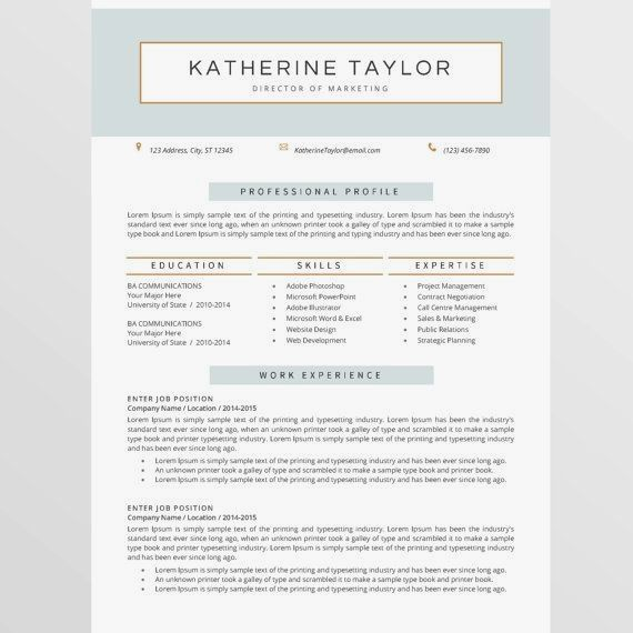 Resume Template Design Optional Second Page Cover Letter References Us Letter And A4 Size Temp Resume Design Resume Template Professional Resume Template