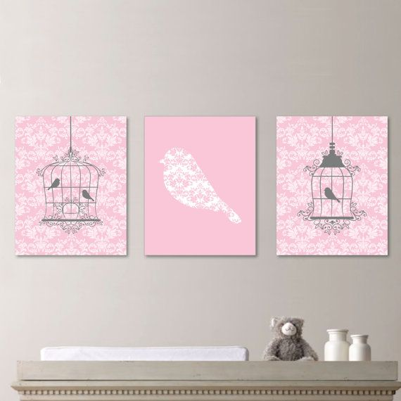 Vintage Damask Birdcage Print Trio - Home. Decor. Girl. Bird. Cage. Nursery. - Shown in Pink, Gray White - You Pick the Size (NS-330)