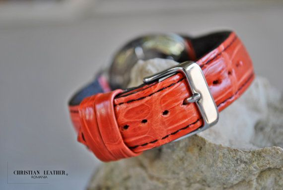 ETSY - Atlantic - Luxury Handmade Alligator Leather Watch Strap Custom Made for Atlantic Watch