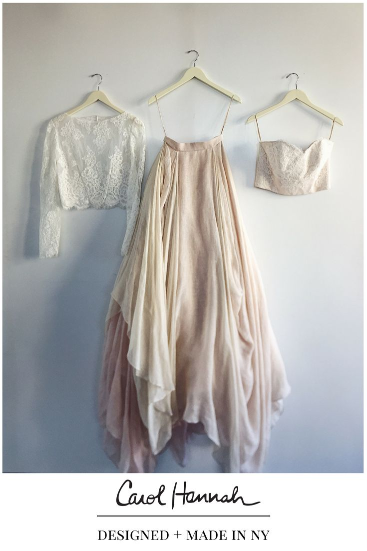 Whimsical wedding gown and bridal separates. Wedding  ideas for the modern, whimsical, bohemian bride. Organic, floral illusion topper with sleeves paired with  with blush and white lace bustier. Draped linen ballgown skirt in blush and champagne with textured layers. Nontraditional wedding ideas for ethereal brides' wedding day style.