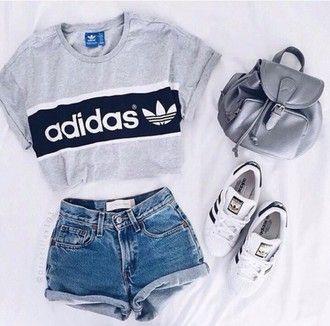 shirt grey t-shirt adidas backpack adidas superstars