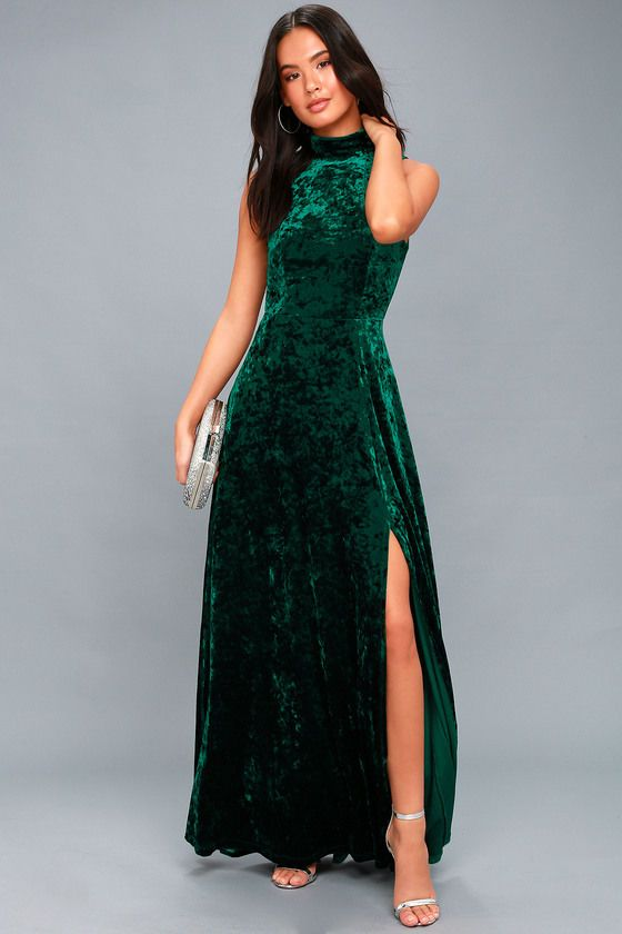 a872a9a1823e In the Louvre Forest Green Velvet Backless Maxi Dress 2