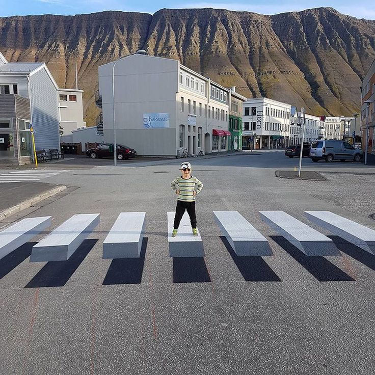 Tired Of Speeding Cars, This Town in Iceland Painted A '3D' Zebra Crosswalk To Slow Down Traffic